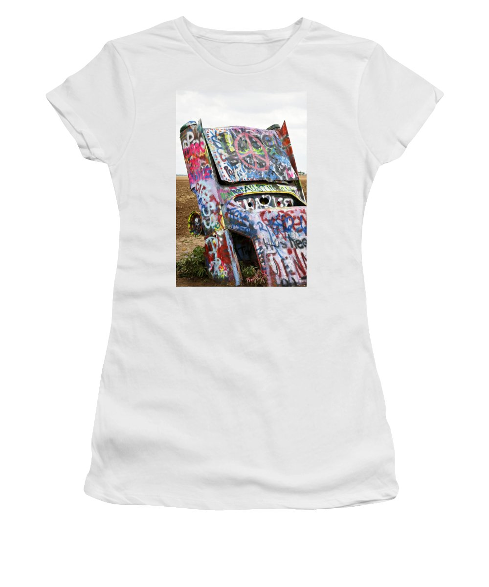 Americana Women's T-Shirt (Athletic Fit) featuring the photograph Cadillac Ranch by Marilyn Hunt