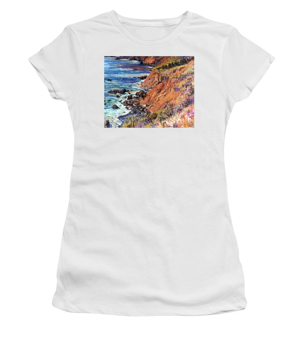 Big Sur Women's T-Shirt (Athletic Fit) featuring the drawing California Coast by Donald Maier