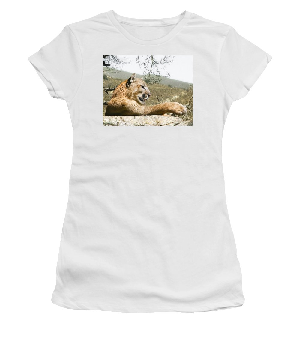 Cougar Women's T-Shirt (Athletic Fit) featuring the photograph California Cougar by Lynn Andrews
