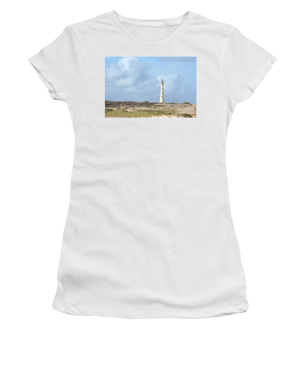 Aruba Women's T-Shirt (Athletic Fit) featuring the photograph California Lighthouse by Thomas Marchessault