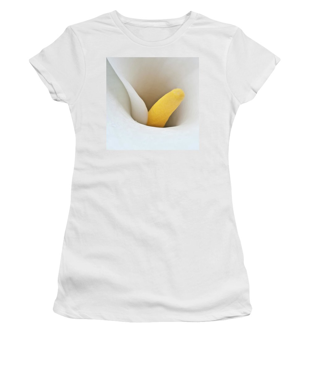 Calla Women's T-Shirt (Athletic Fit) featuring the photograph Calla Details 1 by Heiko Koehrer-Wagner