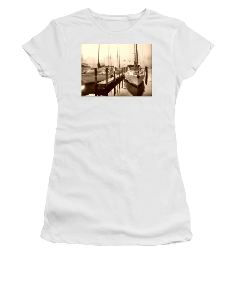 2d Women's T-Shirt (Athletic Fit) featuring the photograph Calmly Docked by Brian Wallace