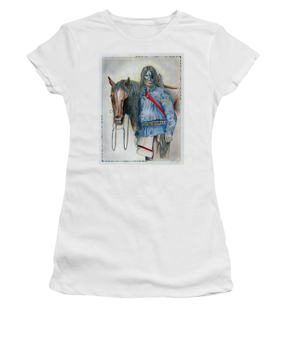 American Women's T-Shirt (Athletic Fit) featuring the drawing Calvary Scout by Jimmy Smith