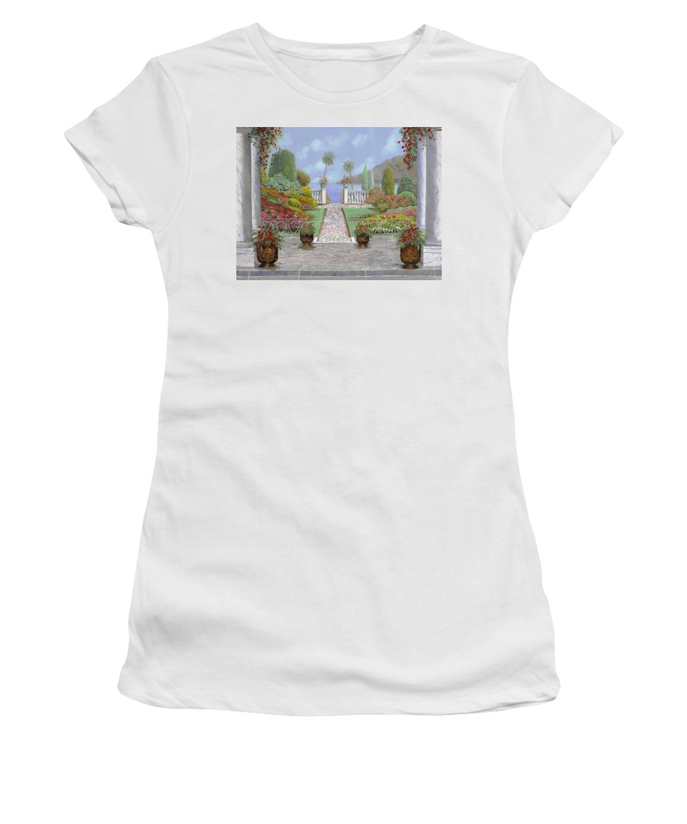 Lake Women's T-Shirt (Athletic Fit) featuring the painting Camminando Verso Il Lago by Guido Borelli