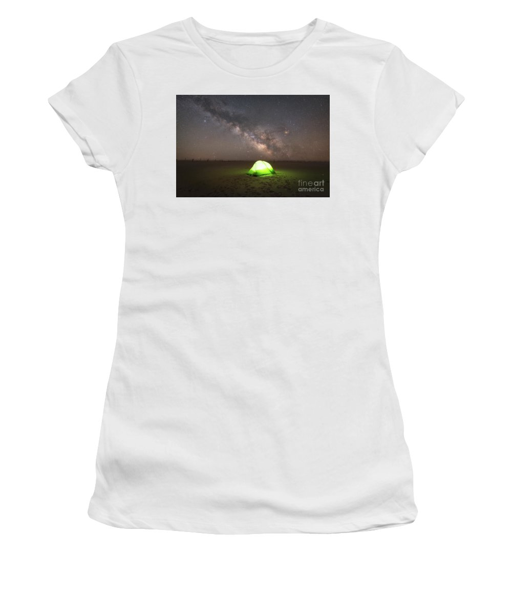 Solitude Under The Stars Women's T-Shirt (Athletic Fit) featuring the photograph Camping Under The Milky Way Galaxy by Michael Ver Sprill