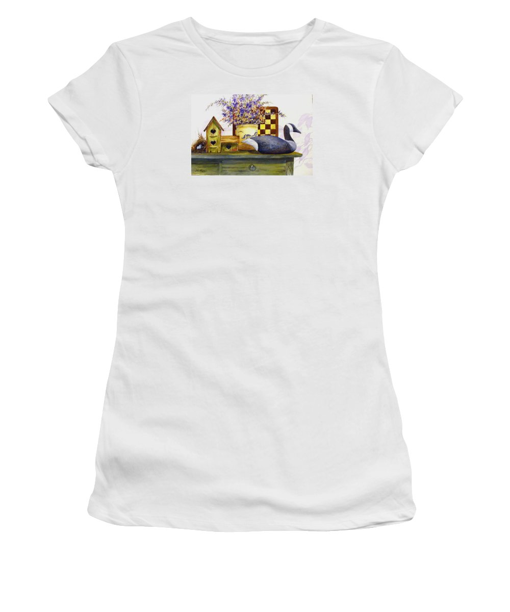 Canada Goose;birdhouse;bird Nest;crock;checkerboard;still Life;country Still Life; Women's T-Shirt (Athletic Fit) featuring the painting Canada And Checkerboard by Lois Mountz