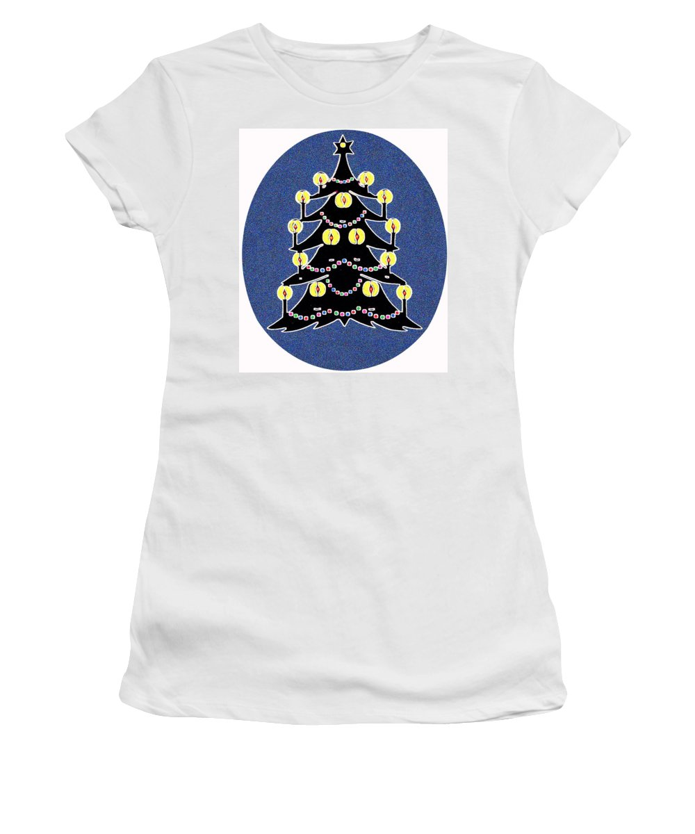 Christmas Women's T-Shirt (Athletic Fit) featuring the digital art Candlelit Christmas Tree by Nancy Mueller