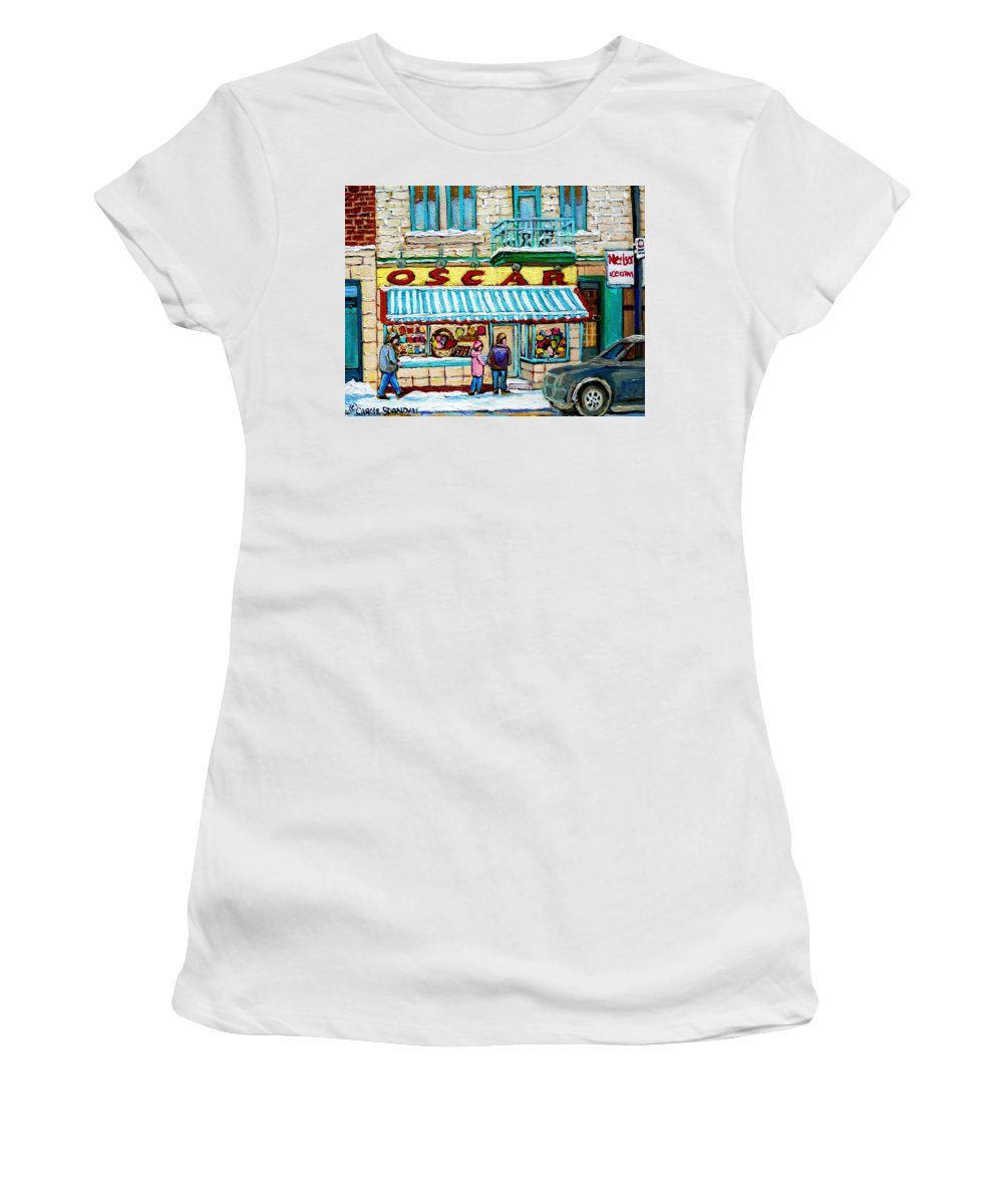 Candy Shop Women's T-Shirt featuring the painting Candy Shop by Carole Spandau