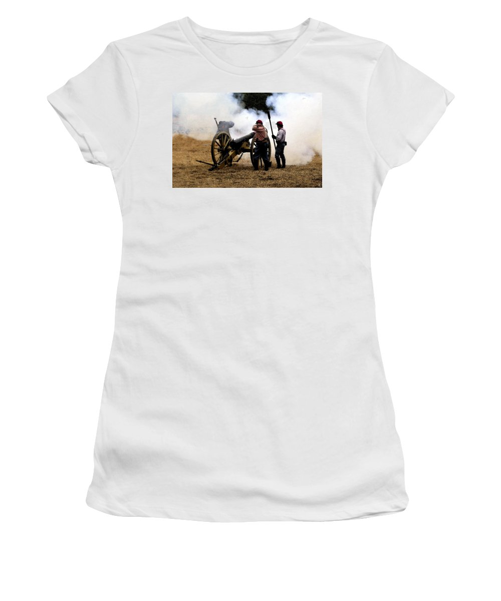 Civil War Women's T-Shirt (Athletic Fit) featuring the painting Cannon Fire by David Lee Thompson