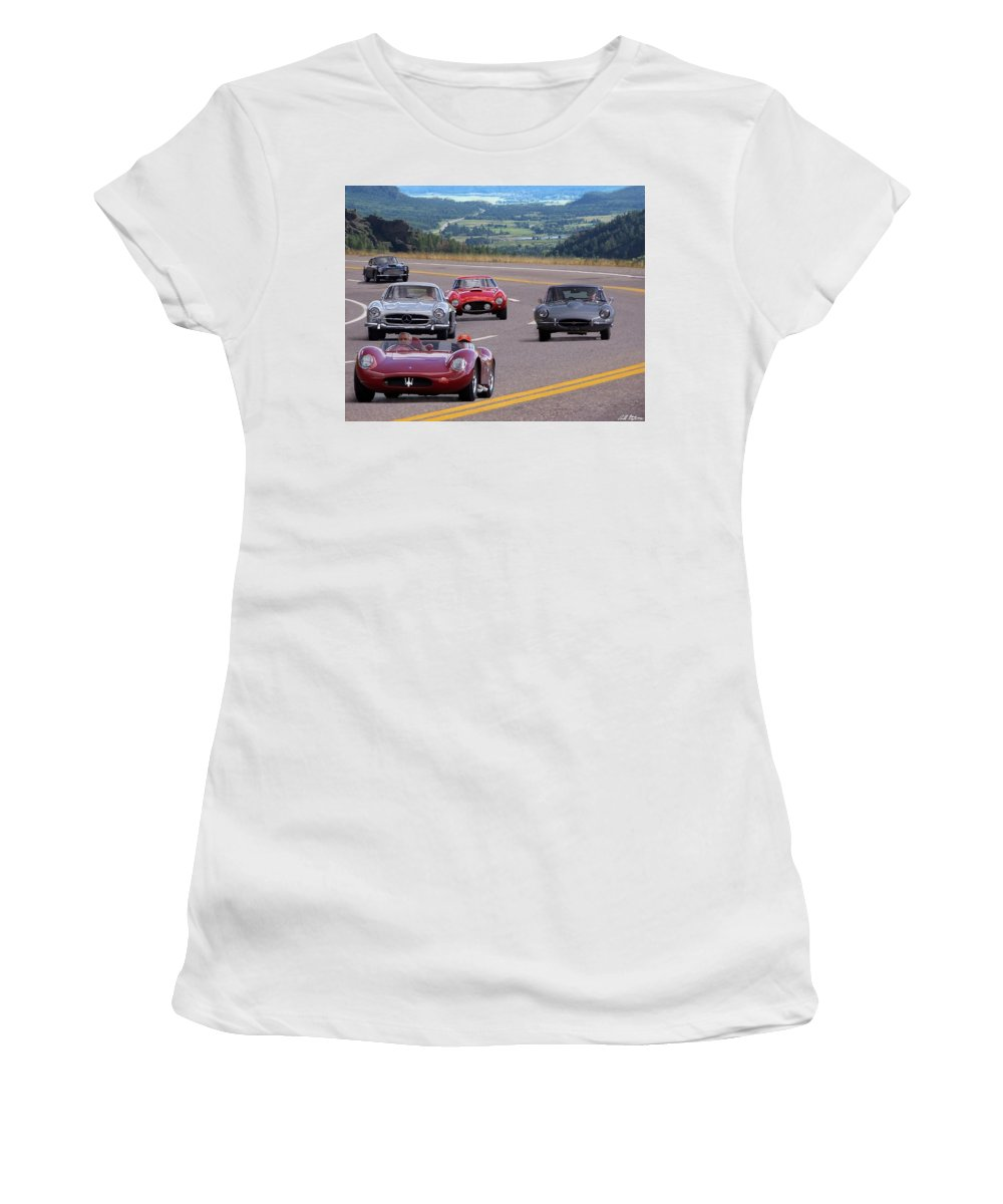 Cars Women's T-Shirt (Athletic Fit) featuring the photograph Cannonball Rally by Bill Stephens