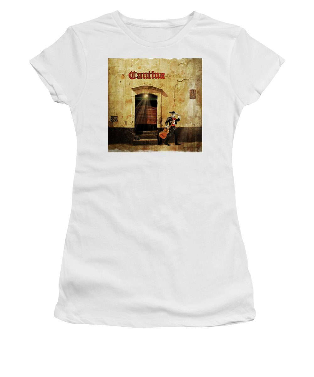 Mexico Women's T-Shirt (Athletic Fit) featuring the digital art Cantina by Brenda Turner
