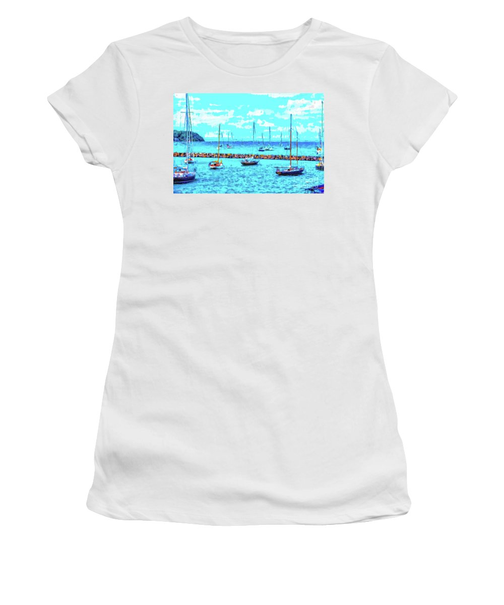 Sailboats Women's T-Shirt (Athletic Fit) featuring the digital art Cape Cod - Sailing Mecca by Bill And Deb Hayes