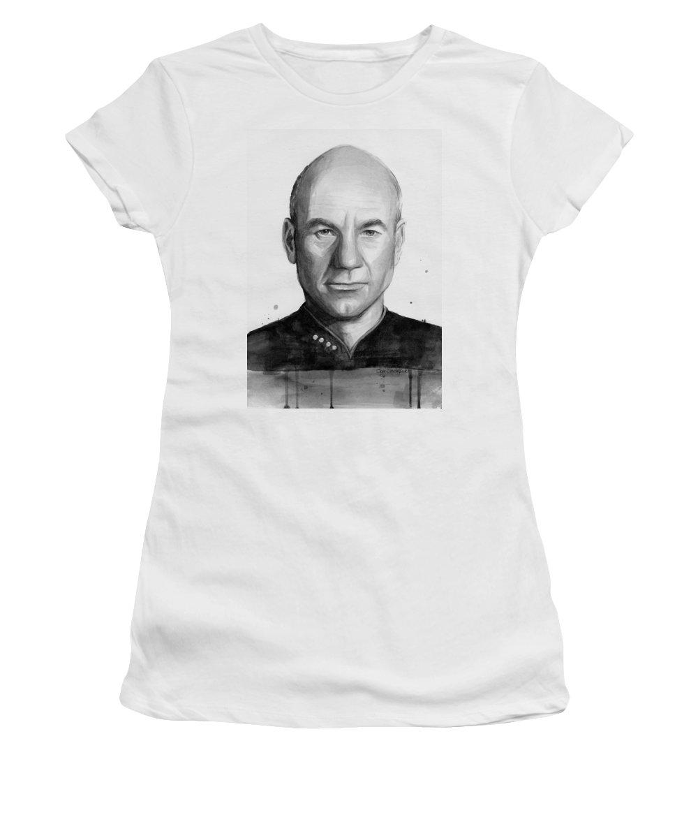 Captain Picard Women's T-Shirt featuring the painting Captain Picard by Olga Shvartsur