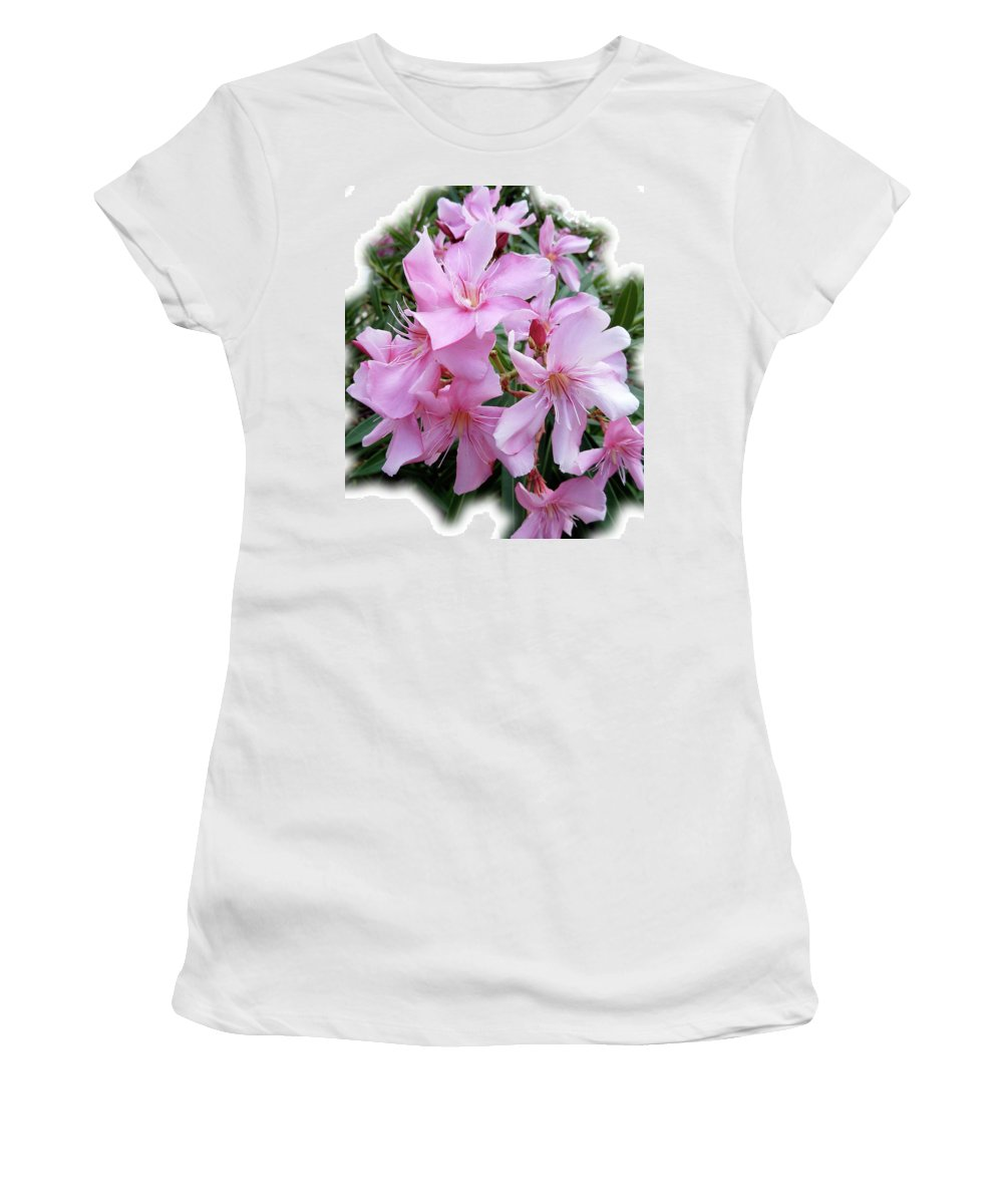 Pink Women's T-Shirt (Athletic Fit) featuring the photograph Caribbean Oleander by Marie Hicks