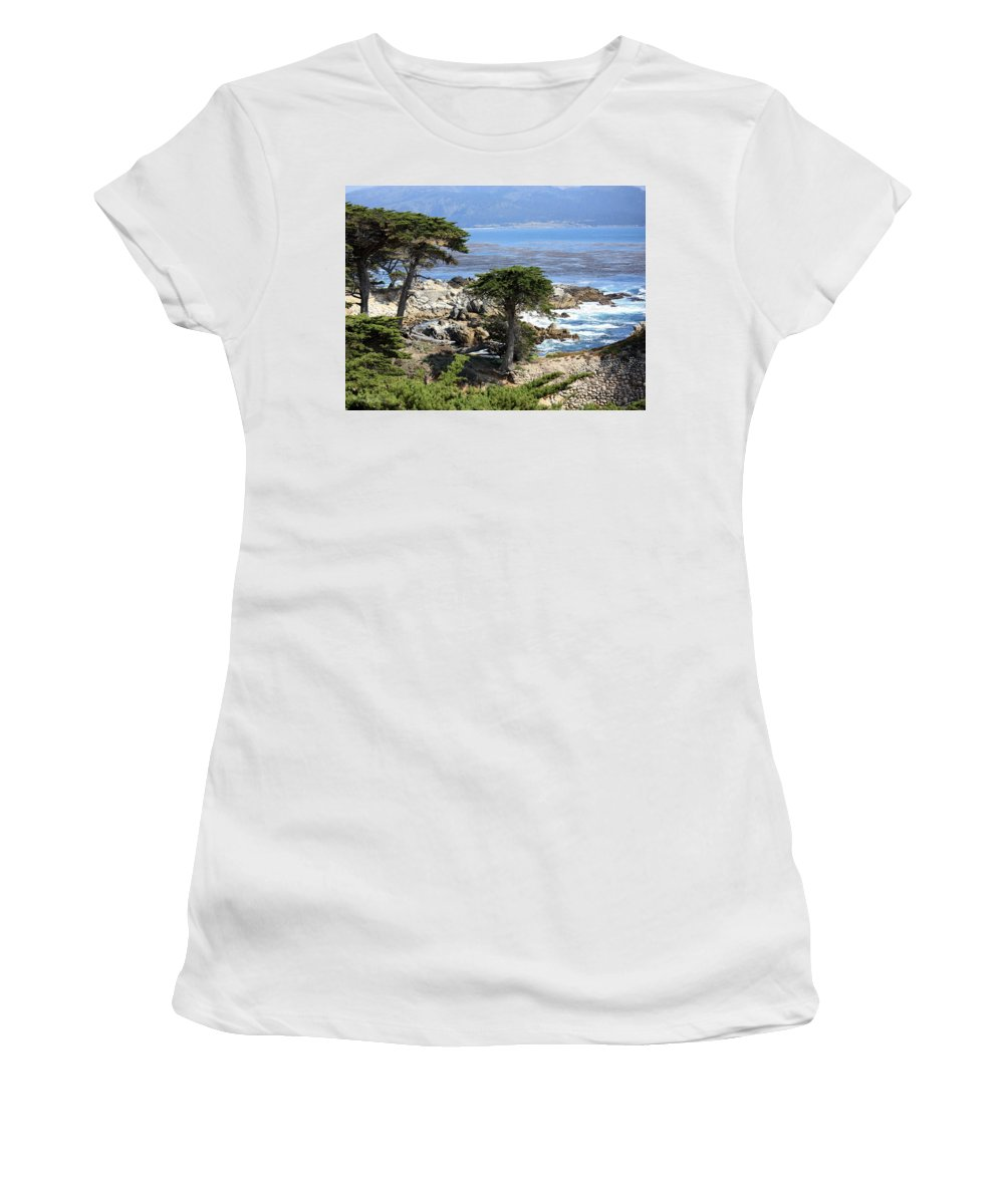 California Women's T-Shirt (Athletic Fit) featuring the photograph Carmel Seaside With Cypresses by Carol Groenen