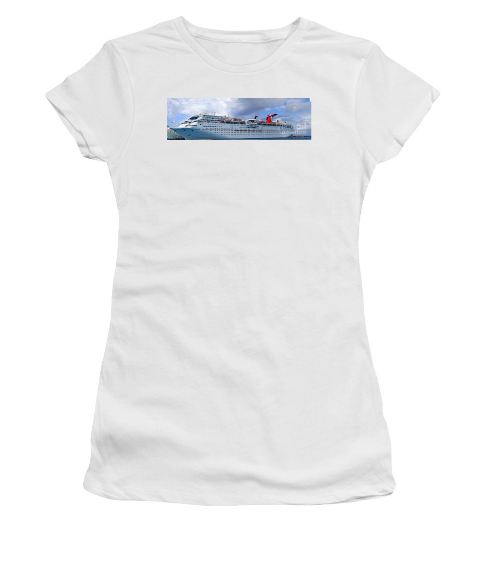 Carnival Women's T-Shirt (Athletic Fit) featuring the photograph Carnival Cruise Ship by Thomas Marchessault