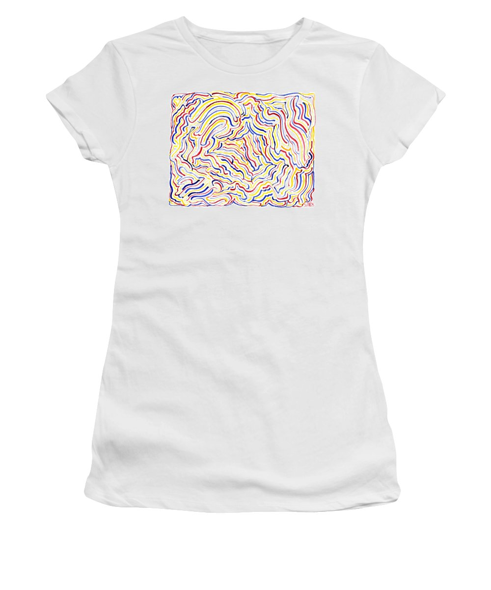 Mazes Women's T-Shirt (Athletic Fit) featuring the drawing Carnivale by Steven Natanson