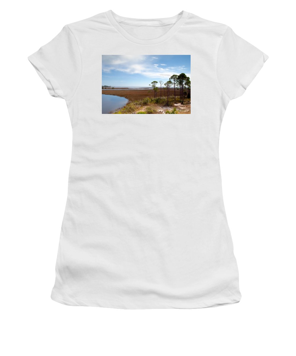 Landscape Women's T-Shirt (Athletic Fit) featuring the photograph Carrabelle Salt Marshes by Rich Leighton