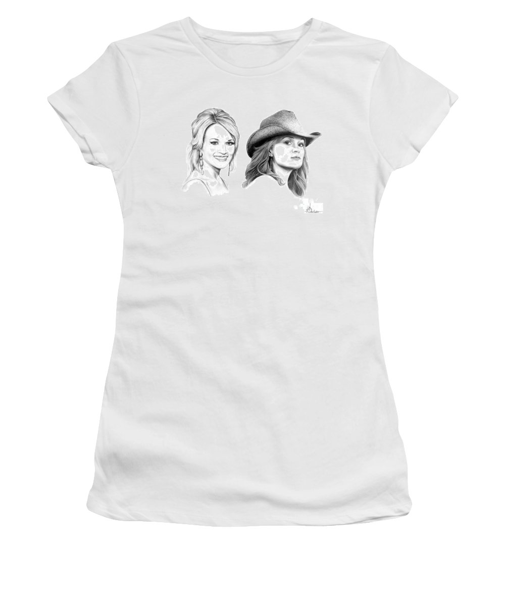 Drawing Women's T-Shirt (Athletic Fit) featuring the drawing Carrie And Carrie Underwood by Murphy Elliott