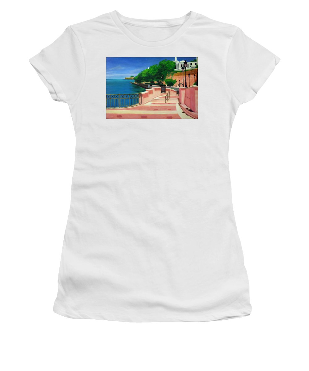 Landscape Women's T-Shirt (Athletic Fit) featuring the painting Casa Blanca - Puerto Rico by Tito Santiago