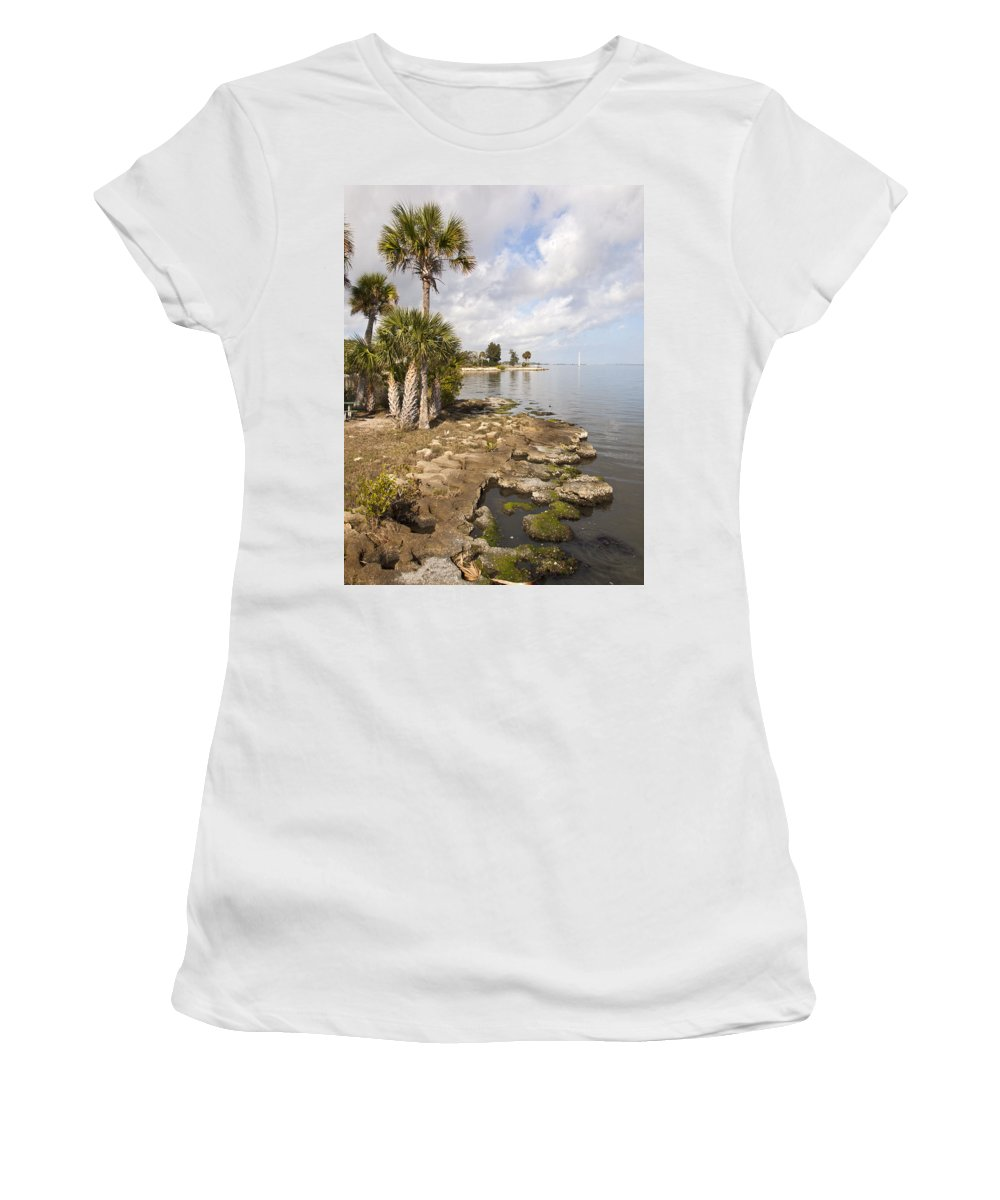 Castaway Women's T-Shirt (Athletic Fit) featuring the photograph Castaway Point On The Indian River Lagoon With Coquina Rock by Allan Hughes