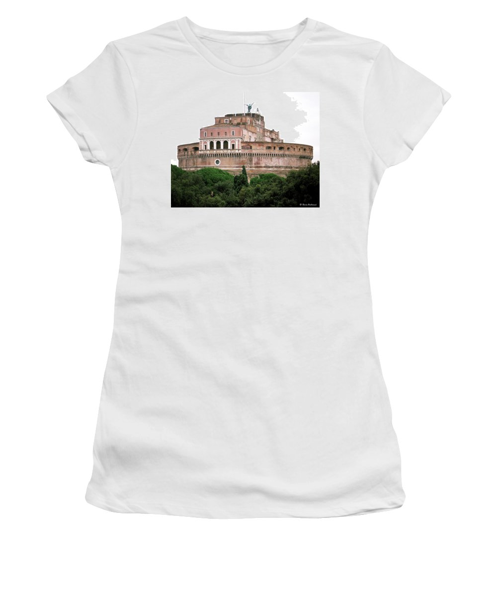 Castel Sant'angelo Women's T-Shirt (Athletic Fit) featuring the photograph Castel Sant'angelo by Ilaria Andreucci