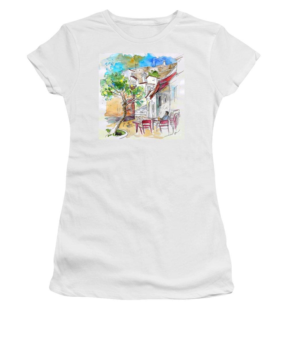 Water Colour Travel Sketch Castro Marim Portugal Algarve Miki Women's T-Shirt (Athletic Fit) featuring the painting Castro Marim Portugal 01 by Miki De Goodaboom