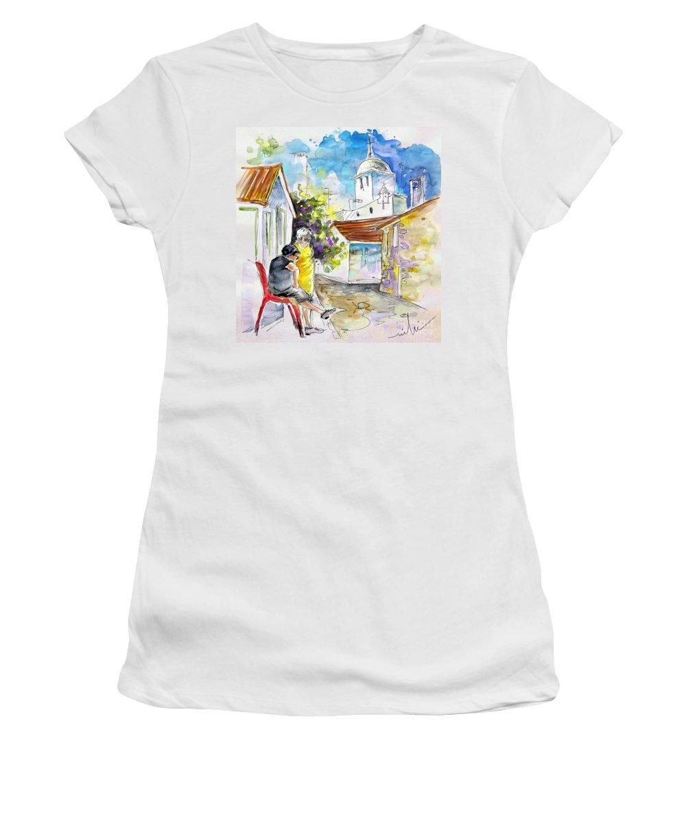 Water Colour Travel Sketch Castro Marim Portugal Algarve Miki Women's T-Shirt (Athletic Fit) featuring the painting Castro Marim Portugal 04 by Miki De Goodaboom