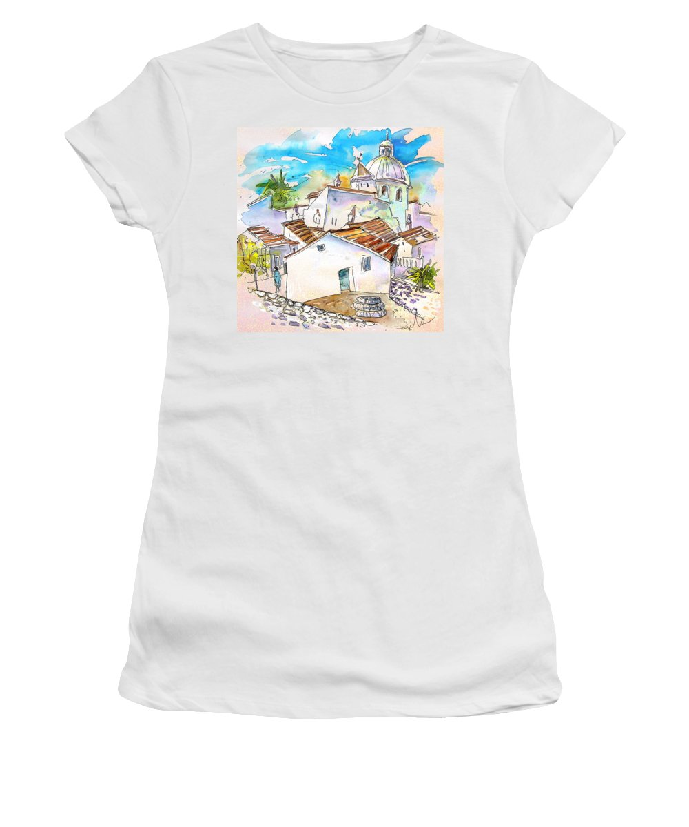 Water Colour Travel Sketch Castro Marim Portugal Algarve Miki Women's T-Shirt (Athletic Fit) featuring the painting Castro Marim Portugal 05 by Miki De Goodaboom
