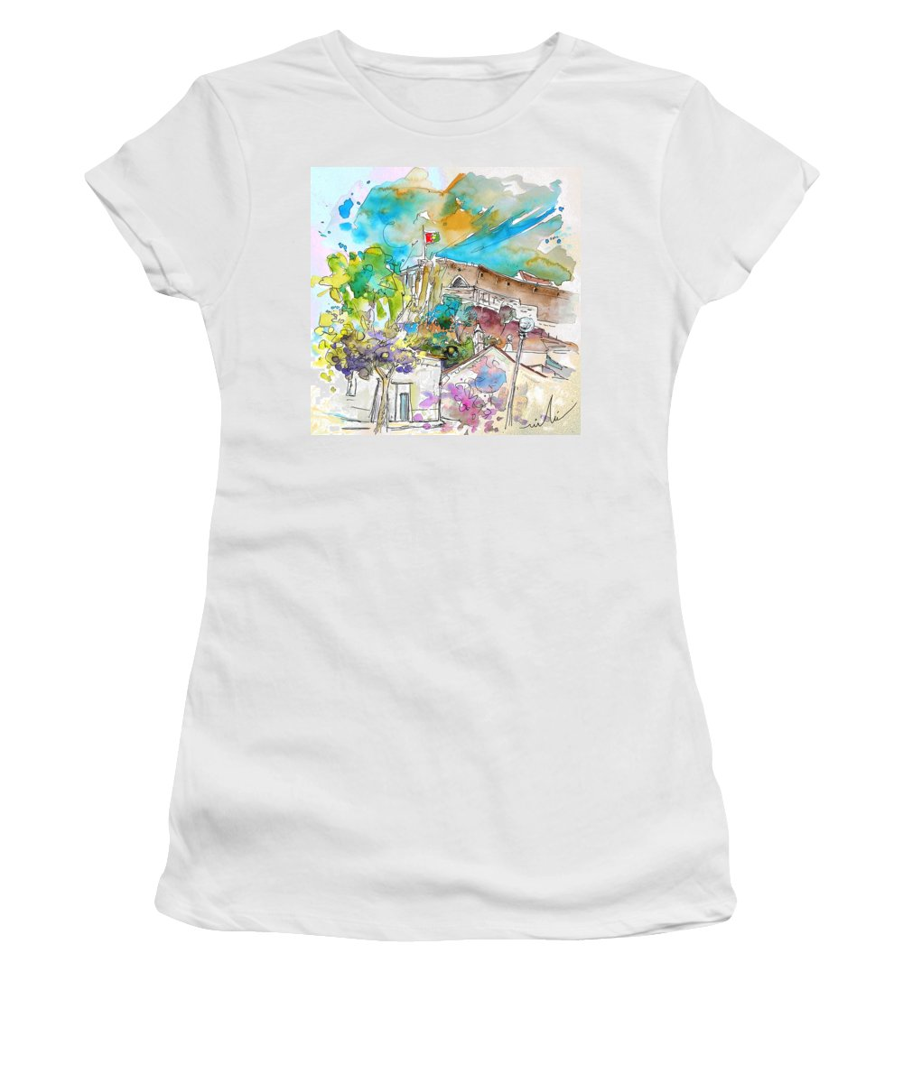 Castro Marim Portugal Algarve Painting Travel Sketch Women's T-Shirt (Athletic Fit) featuring the painting Castro Marim Portugal 10 by Miki De Goodaboom