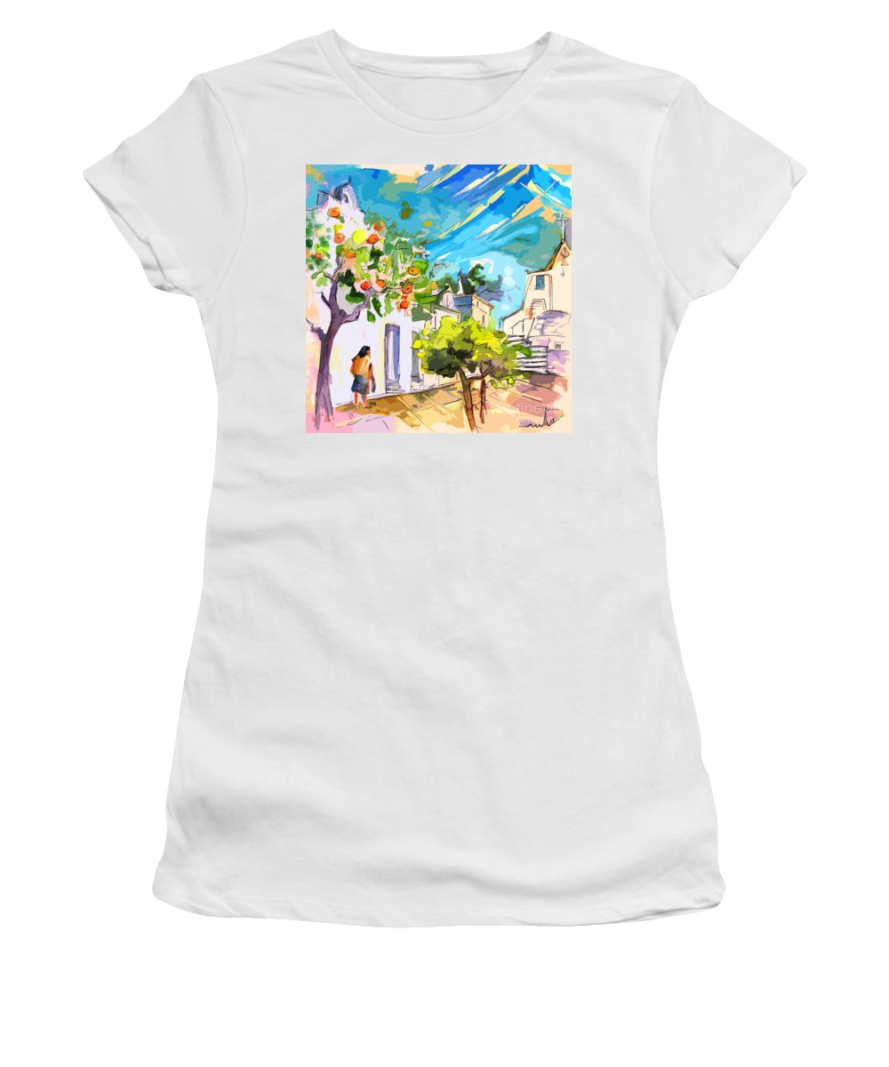 Castro Marim Portugal Algarve Painting Travel Sketch Women's T-Shirt (Athletic Fit) featuring the painting Castro Marim Portugal 15 Bis by Miki De Goodaboom