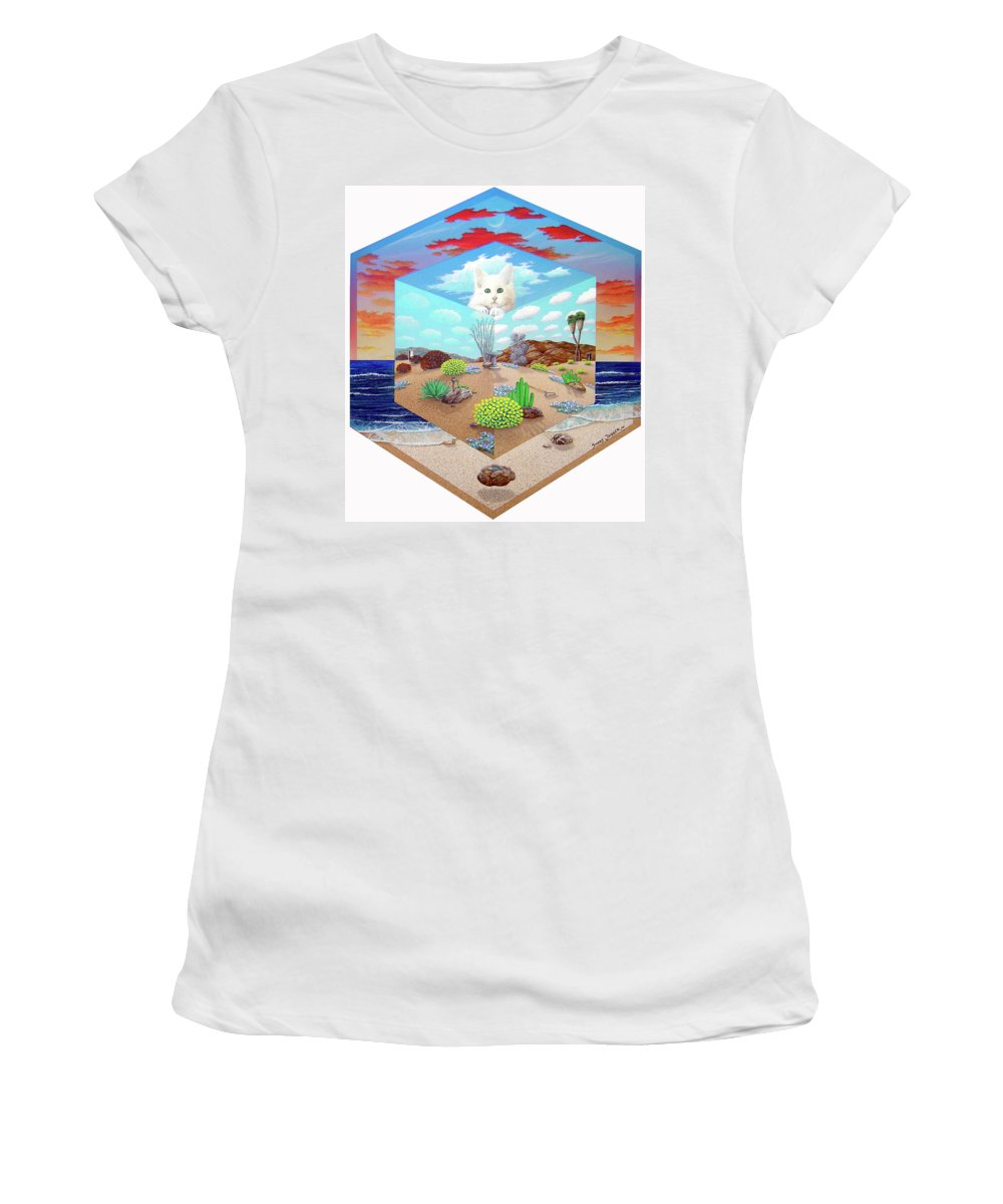 Cat Women's T-Shirt featuring the painting Cat In The Box by Snake Jagger