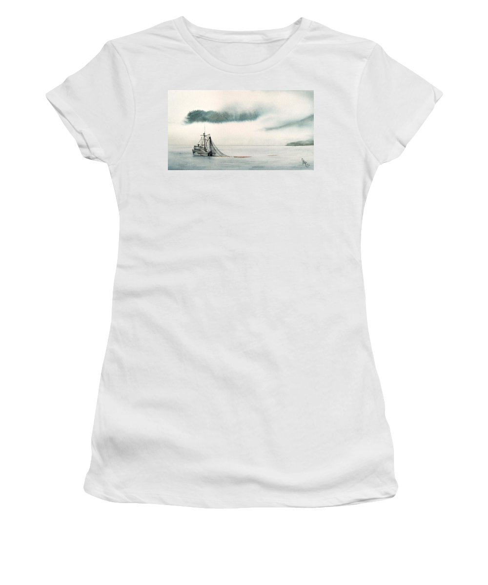 Fishing Boat Women's T-Shirt (Athletic Fit) featuring the painting Catch Of The Day by Gale Cochran-Smith