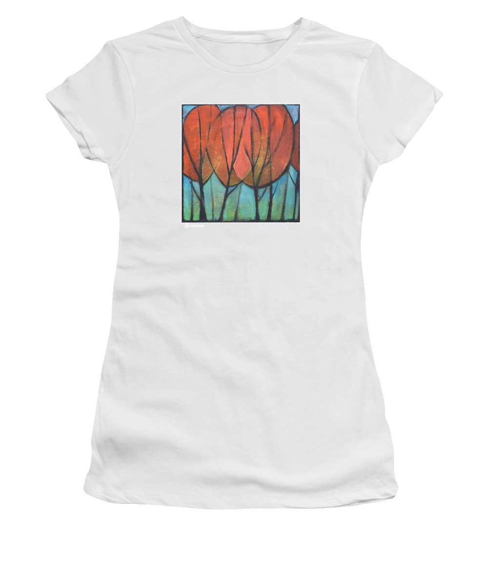Trees Women's T-Shirt (Athletic Fit) featuring the painting Cathedral by Tim Nyberg