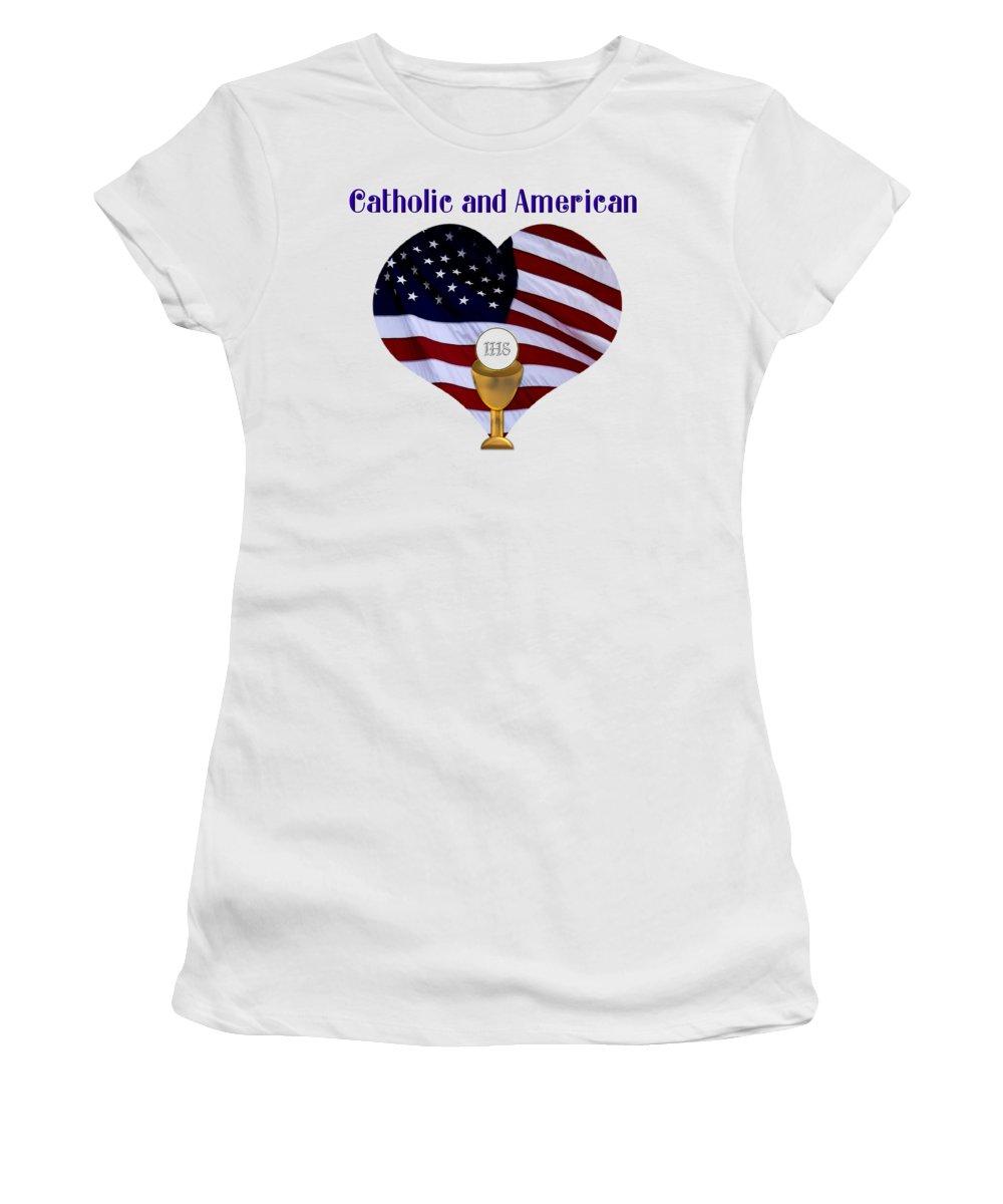 Catholic And American Women's T-Shirt featuring the photograph Catholic And American Flag And Holy Eucharist by Rose Santuci-Sofranko