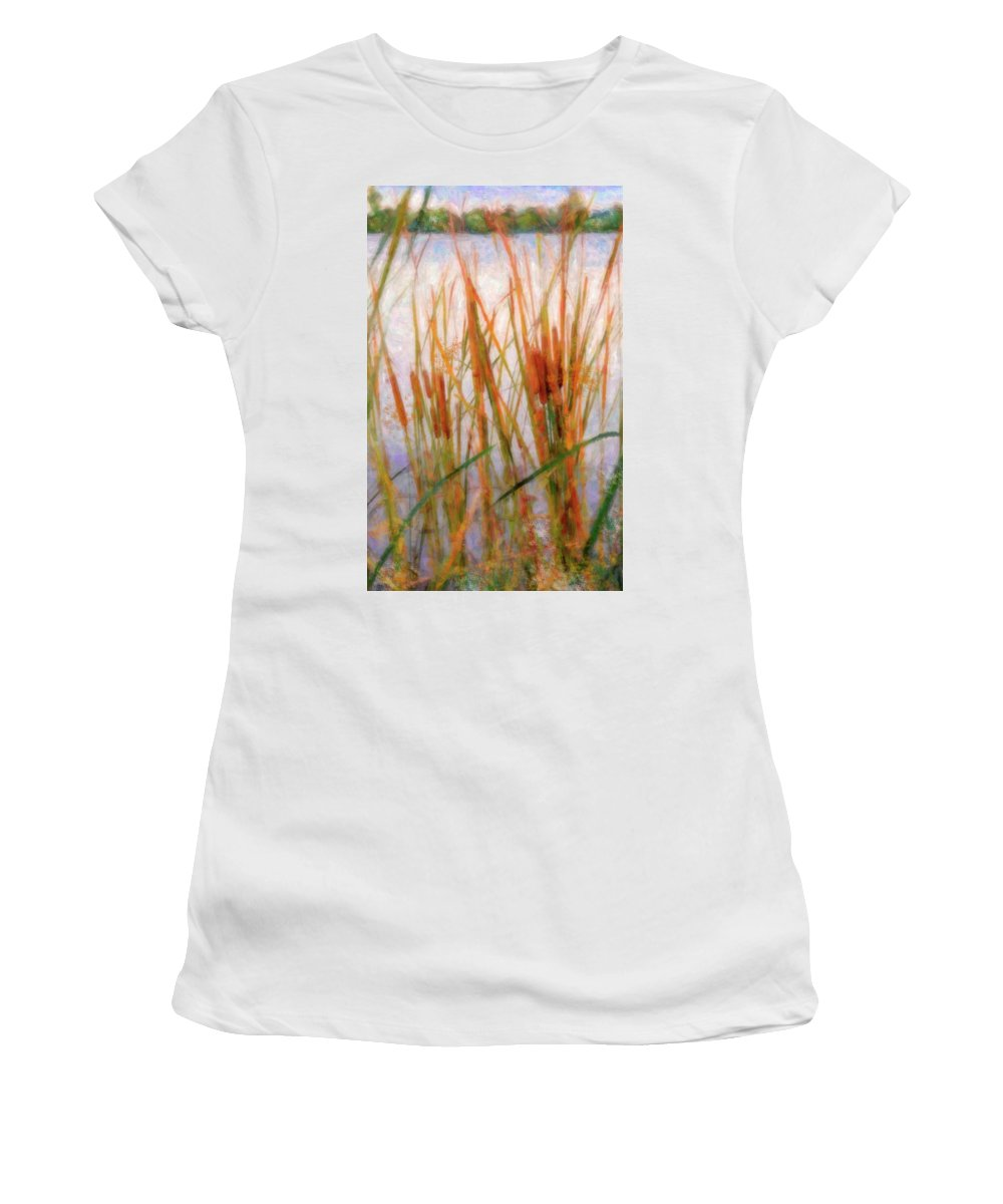 Cattails Women's T-Shirt featuring the photograph Cattails By The Lake by Betty LaRue