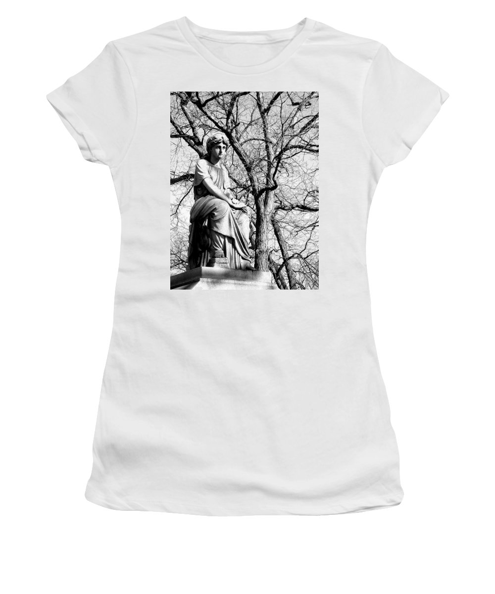 Cemetary Women's T-Shirt (Athletic Fit) featuring the photograph Cemetary Statue B-w by Anita Burgermeister