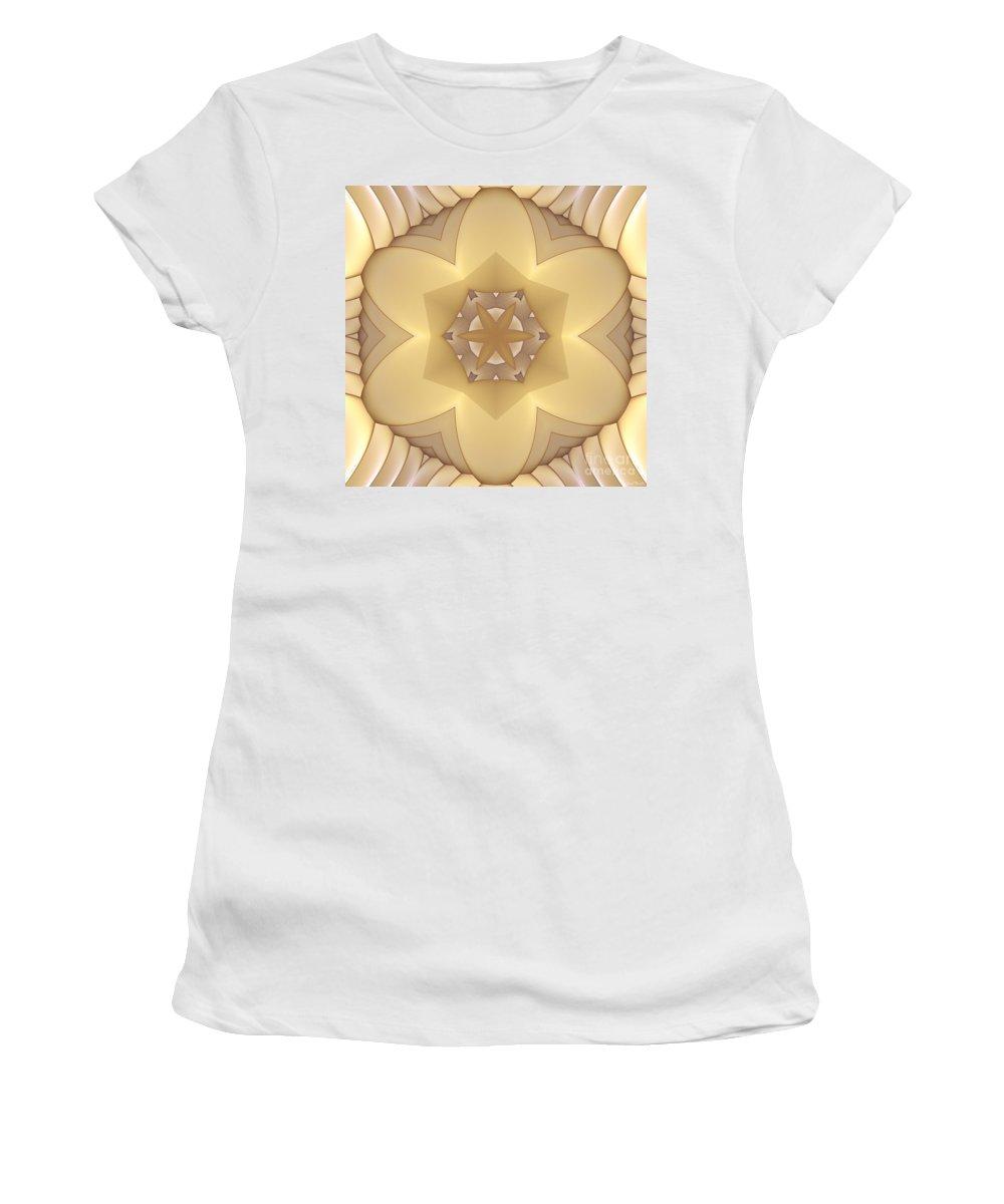 Fractal Women's T-Shirt (Athletic Fit) featuring the digital art Center Star-flower by Deborah Benoit