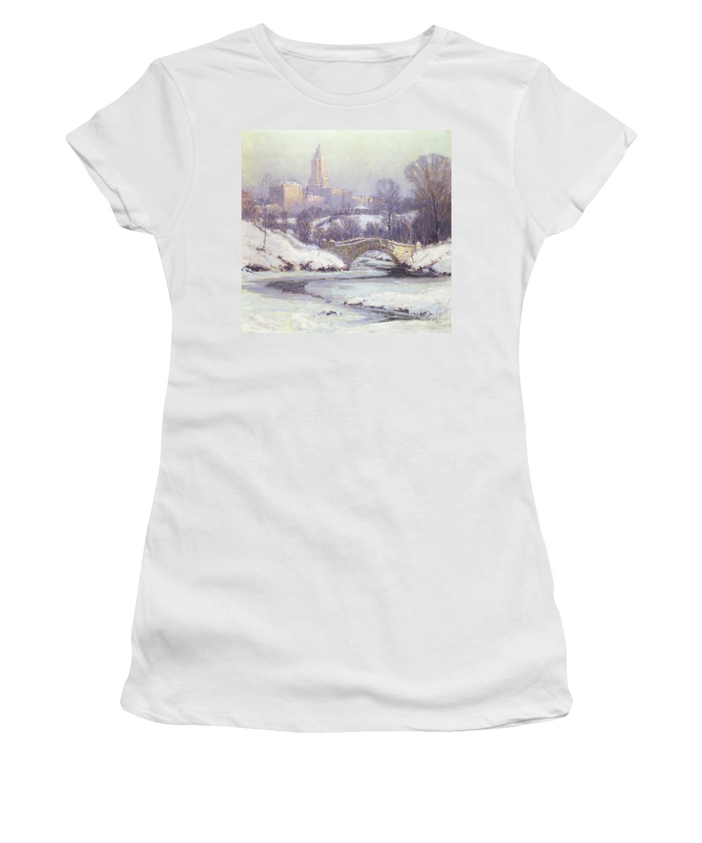 Winter Women's T-Shirt featuring the painting Central Park by Colin Campbell Cooper