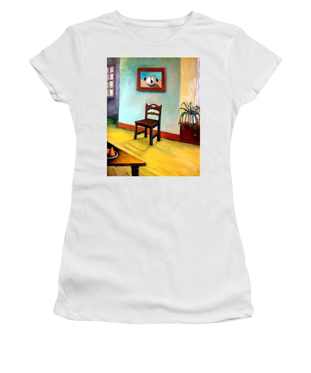 Apartment Women's T-Shirt (Athletic Fit) featuring the painting Chair And Pears Interior by Michelle Calkins