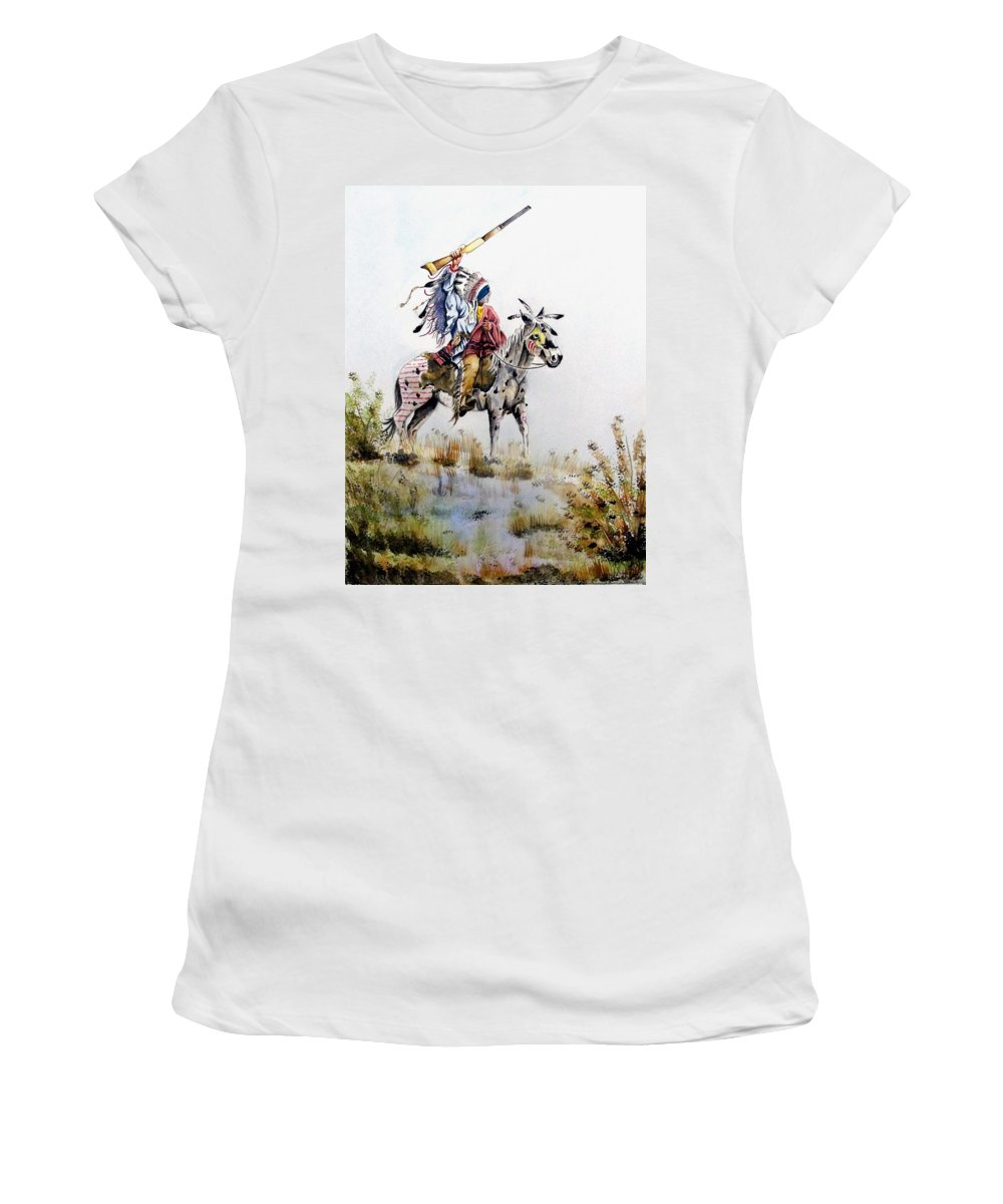 American Women's T-Shirt (Athletic Fit) featuring the painting Challenge by Jimmy Smith