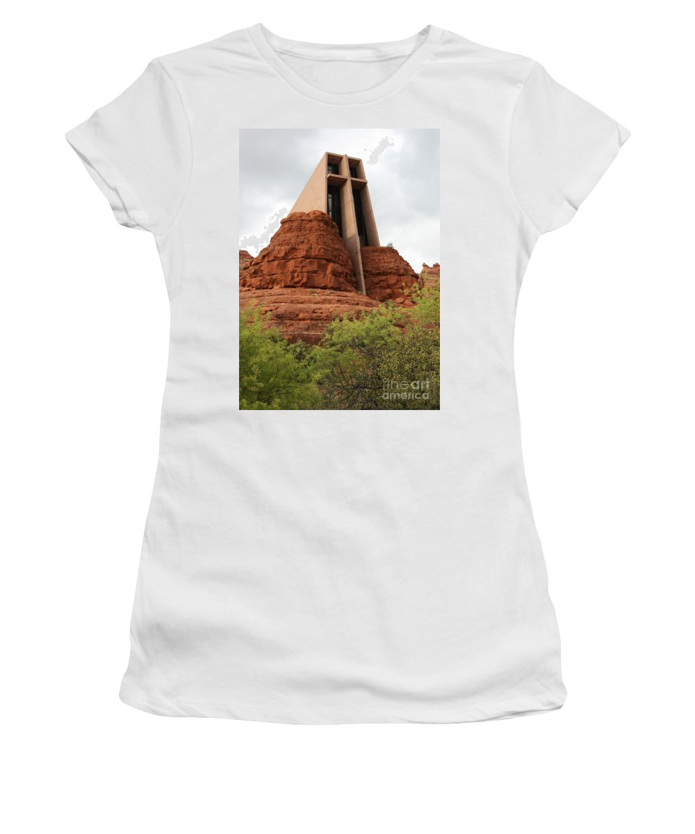 Sedona Women's T-Shirt featuring the photograph Chapel Of The Holy Cross by Carol Groenen