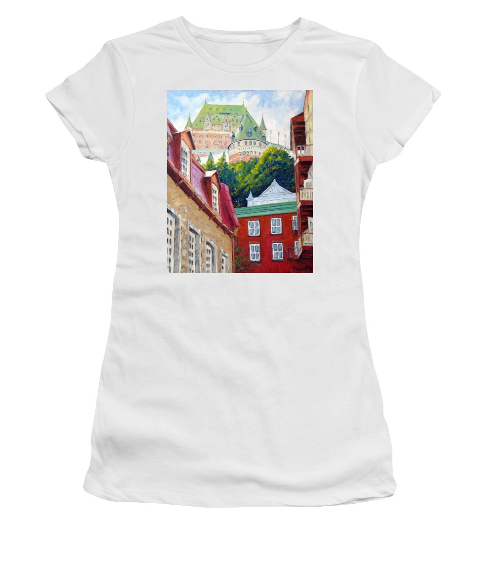 Town Women's T-Shirt featuring the painting Chateau Frontenac 02 by Richard T Pranke
