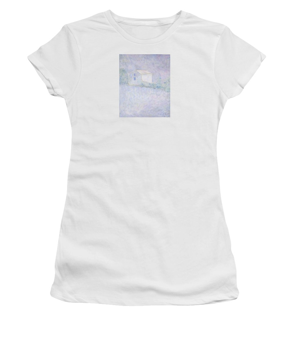 Impressionism Women's T-Shirt (Athletic Fit) featuring the painting Chateau - House In France by Glenda Crigger
