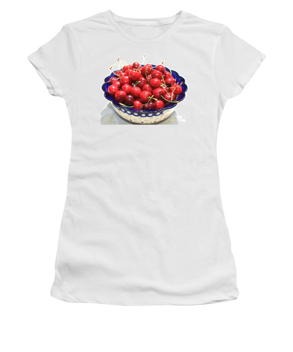 Cherries Women's T-Shirt (Athletic Fit) featuring the photograph Cherries In Blue Bowl by Carol Groenen