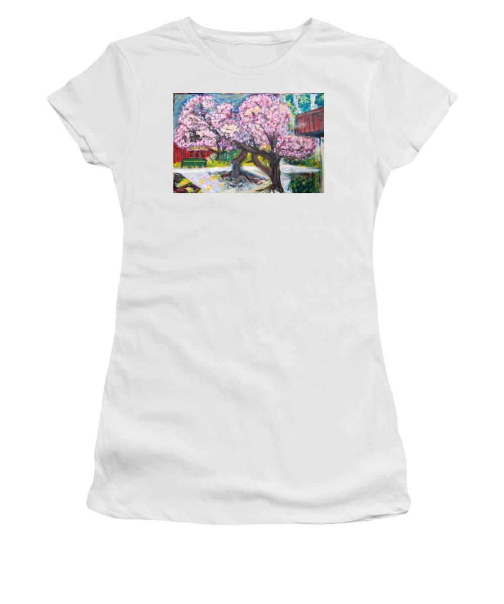 Cherry Tree Women's T-Shirt (Athletic Fit) featuring the painting Cherry Blossom Time by Carolyn Donnell