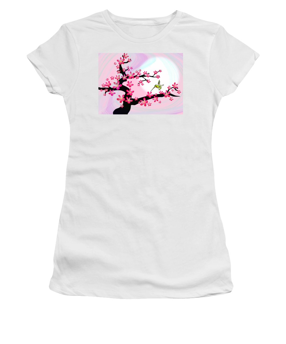 Cherry Women's T-Shirt (Athletic Fit) featuring the digital art Cherry Tree by Anastasiya Malakhova
