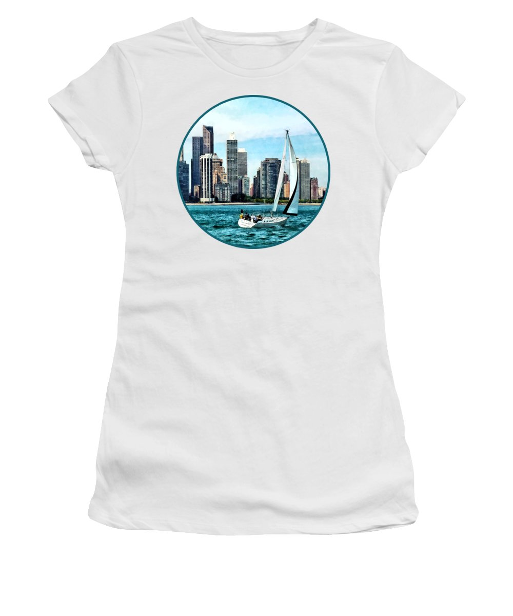 Chicago Women's T-Shirt featuring the photograph Chicago Il - Sailboat Against Chicago Skyline by Susan Savad