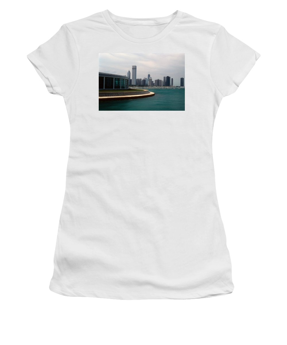 Chicago Women's T-Shirt featuring the photograph Chicago Waterfront by Gary Wonning