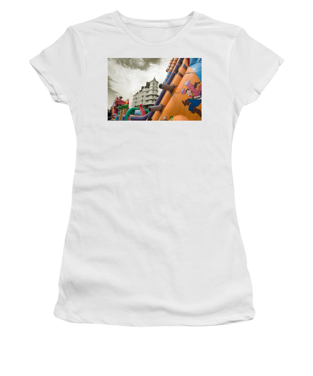 Childrens Women's T-Shirt featuring the photograph Childrens Play Areas Contrast With The Victorian Elegance Of The Grand Hotel In Llandudno Wales Uk by Mal Bray